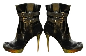 Stuart Weitzman Velvet Leather Platform Stiletto Classic Black Boots