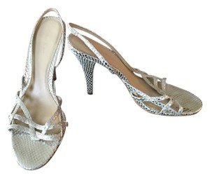 Calvin Klein Metallic Slingback Stiletto Sandle Rochelle Textured Silver Pumps