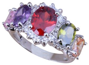 Multi gem 18kt white gold plated ring