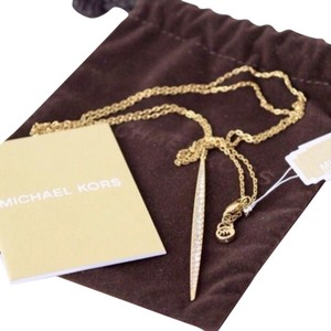 Michael Kors NWT Michael Kors Gold & Crystal Pave Matchstick Charm Necklace
