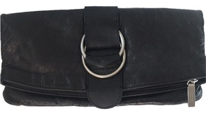 Hobo International Foldover Zippered Magnetic Clasp Black Crackled Leather Paisley Clutch