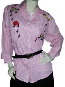 Hot Dames by Belle Cotton 2-piece Under T Embroidered Button Down Shirt Red & white pin stripe