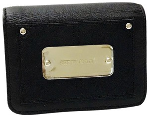 See by Chloé SEE By Chloe Black Leather Logo Plate Snap Bi-Fold Wallet