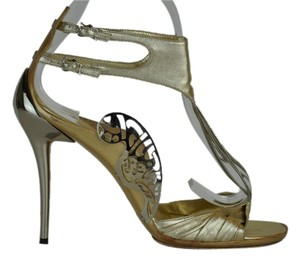 Fendi Size 39 Made In Italy Silver Metalic Leather Runway Art Deco Leather-metal Gold Metallic Sandals