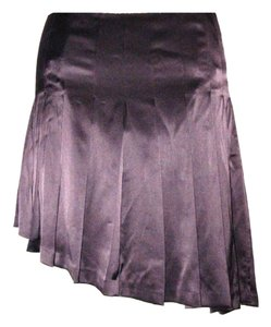 Worth Lined Pleated Asymmetrical Skirt Brown