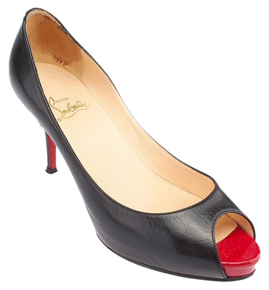 best sneakers 7ff90 9480b Christian Louboutin Black Very Prive 100 Leather 38.5 (65011) Pumps Size US  8