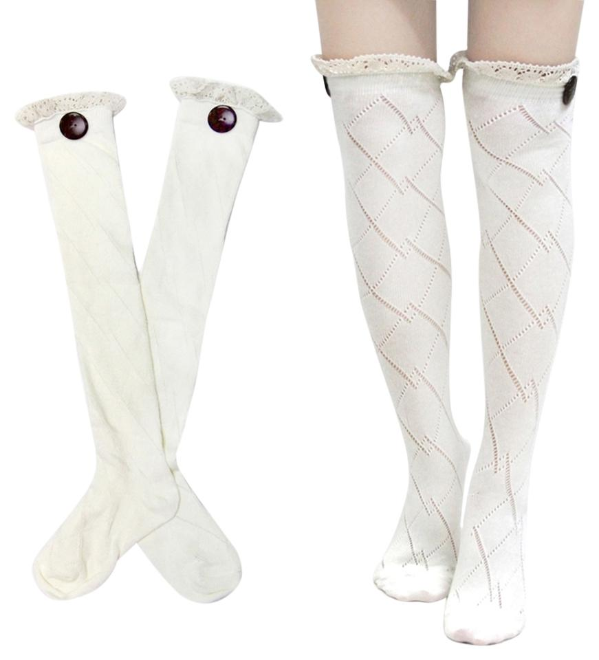White Diamond Pattern Lace Top Button Accent Knitted Boot Knee Highs ...