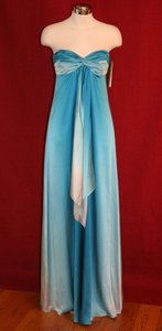 Nicole Miller Blue Degrading Strapless Rouched Sweetheart Sea Ombre Gown Sz 2 $660 Da0068 Dress
