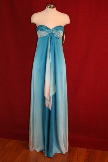 Nicole Miller Blue Degrading Strapless Rouched Sweetheart Sea Ombre Gown Da0068 Formal Dress Size 2 (XS)