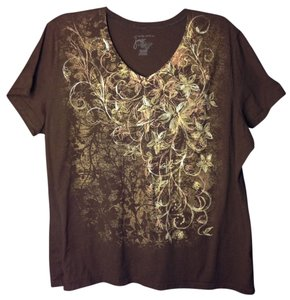 Just My Size T Shirt Chocolate Brown with Gold & Copper Design Size 3x