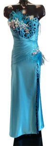 Mon Cheri Feathers Strapless Beaded Dress