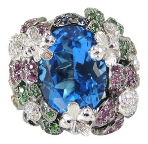 18K White Gold London Blue Topaz Multi Color Sapphire Diamond Flower Ring - Retail $2600