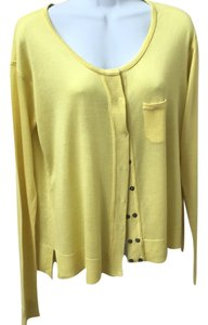 Martin + Osa Yellow Modal Silk Cardigan Sweater