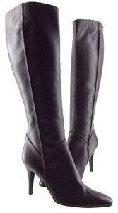 Roberto Cavalli Dark Burgundy Leather Boots