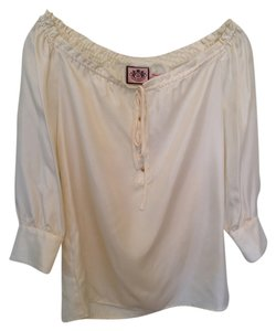 Juicy Couture Embellished Silk Classic Top Cream