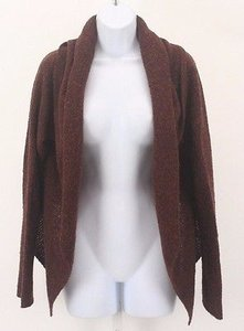 Eileen Fisher Rust Multi Drape Front Shawl Collar Wool Blnd Cardigan B142 Sweater