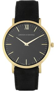 Larsson & Jennings LARSSON & JENNINGS LADER SUEDE AND GOLD-PLATED WATCH