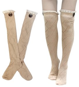 Diamond Pattern Lace Top Button Accent Knitted Boot Socks Knee Highs