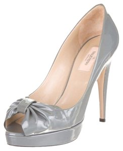 Valentino Patent Leather Bow Peep Toe Grey Pumps