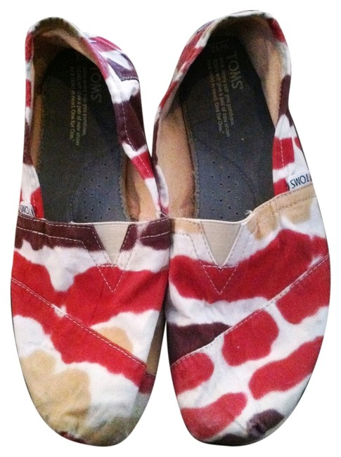 Item - Multi Color with Red Tan White Gold Maroon Flats Size US 12 Wide (C, D)