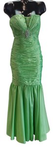 Alyce Paris Strapless Satin Fitted Beaded Dress