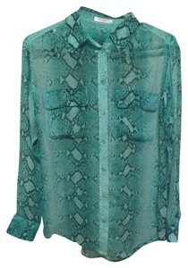 Equipment Silk Sheer Green Shirt Xs Snakeskin Print Button Down Shirt Multi Green