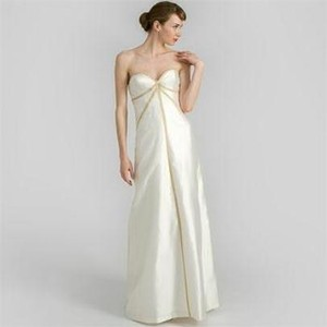 Nicole Miller Bridal Antique White Silk Shantung Strapless Gown Im0003 Formal Wedding Dress Size 4 (S)