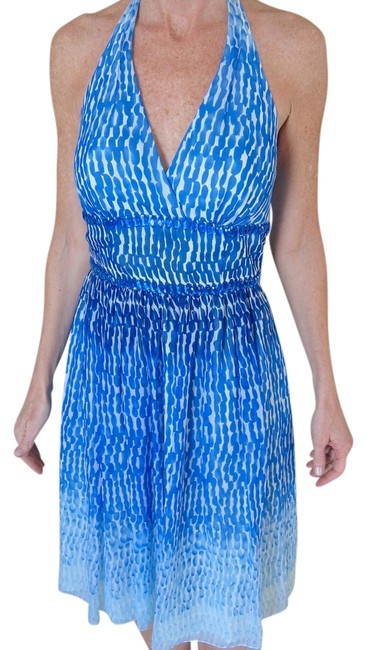 Preload https://item1.tradesy.com/images/carmen-marc-valvo-blue-and-white-beaded-silk-knee-length-cocktail-dress-size-2-xs-938095-0-0.jpg?width=400&height=650