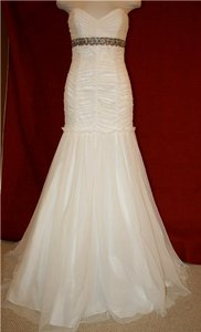 Nicole Miller Ivory Silk Embellished Bridal Gown 0/2 Sample Mp0004 Formal Wedding Dress Size 0 (XS)