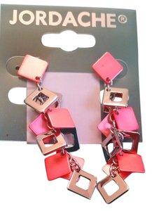 Jordache Brand New! Coral Geometric Silver DropEarrings Free Shipping d1