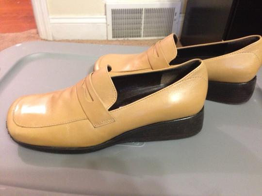 Enzo Angiolini Square Toe Wedge Comfortable 100% Leather Upper Camel Flats