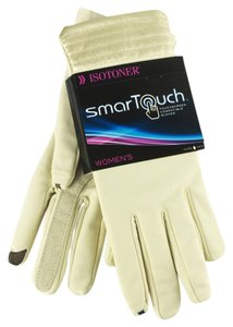 Isotoner ISOTONER Smart Touch Women's Touchscreen Leather Glove White XL