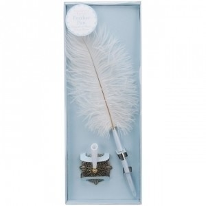 Darice Victoria Lynn White Quill Feather Pen and Antique Brass Fillag Reception Decoration