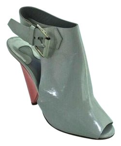 Chlo Leather Peep Toe Wedge Grey and Pink Boots