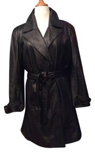 Centigrade Soft Supple Leather Double Breasted Snap Front Matching Belt Kick Pleat Trench Coat