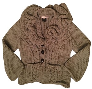 LP & P Ruffle Hand Knit Chunky Cable Knit Sweater