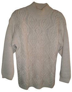 BOUNDRY WATERS Mock Turtle Neck Cable Knit Sweater
