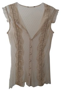 Unknown Sheer Button Up Work Professional Stretch Sleeveless Top Beige / Cream