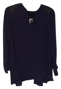 Saks Fifth Avenue Top Navy with black leather patch on shoulders