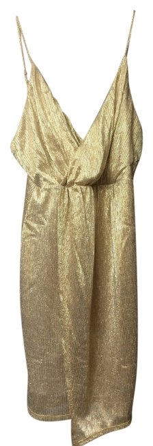 Item - Gold Above Knee Night Out Dress Size 4 (S)