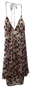 100% Silk Silk Square Cube multi-colored / pink / plack / grey / brown Halter Top