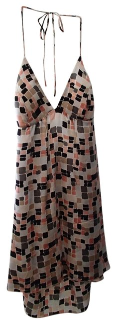 Other 100% Silk Silk Square Cube multi-colored / pink / plack / grey / brown Halter Top