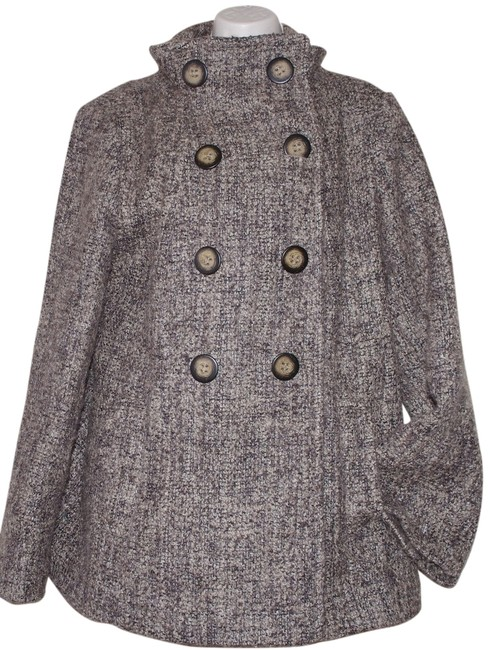 Item - Brown Tweed Double Breasted Wool Blend Overcoat Coat Size 14 (L)