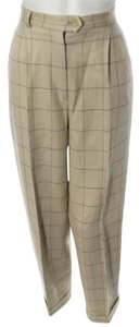 Max Mara Trouser Pants CREAM WINDOWPANE STITCHING DETAIL