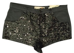 Topshop Sequins Shorts Forest Green