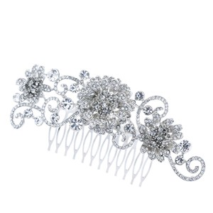 Silvertone Rhinestone And Flower Leaf Vine Simulated Pearl Bridal Comb Swarovski Flower Dangle Cz Diamond Bride Wedding