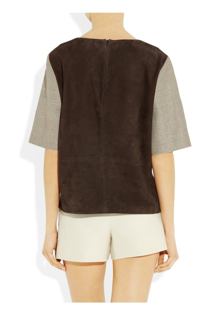 Bally Leather Tweed Suede T Shirt Tan, Black and Brown
