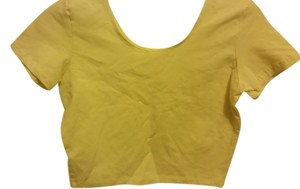 American Apparel Crop Casual Night Out T Shirt neon yellow