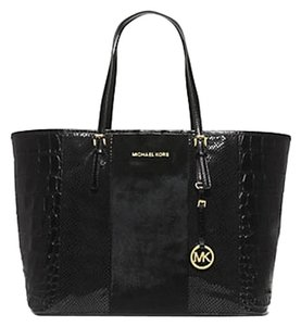 Michael Kors Leather Calf Hair Tote in Black