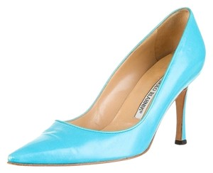 Manolo Blahnik Pointed Toe Pump Leather Blue Pumps